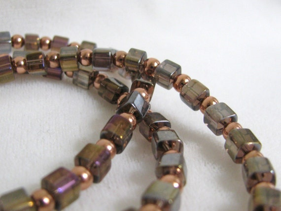 Copper & Irridescent Glass Bead Necklace 25 inches RKMixables Collection RKM157