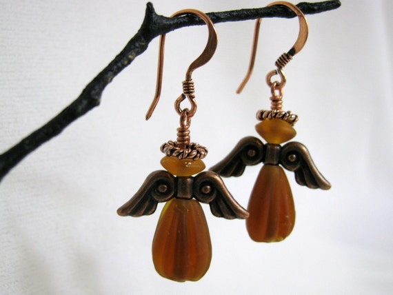 Amber Glass and Copper Angel Earrings RKMixables Copper Collection RKM247