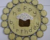 Happy Birthday Wool Penny Rug
