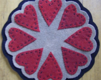 Primitive Valentine Heart Wool Candlemat