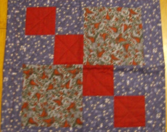 Cardinal and Holly Table Quilt   CLEARANCE