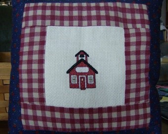 Cross Stitched School House Pillow