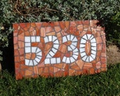 Mosaic House Number - Orange Stained Glass