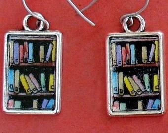 Bookshelf Earrings Book Lover Gift Bookcase Bookish Jewelry