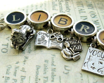 Librarian Bracelet Library Jewelry Book Charm Literary
