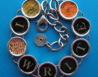 I Write Bracelet Writers Authors Writing Literary Jewelry Writer Gift