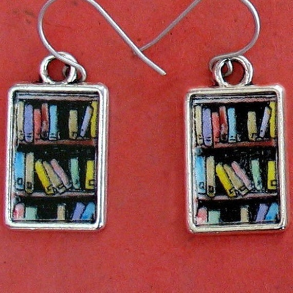 Bookshelf Earrings Books Bookcase Bookish Jewelry