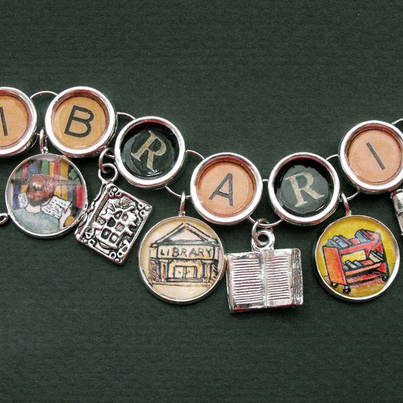 Librarian Bracelet Library Picture Charms Librarian Gift