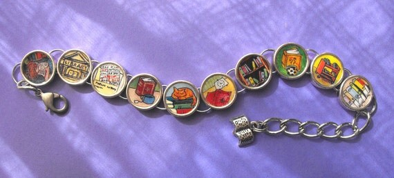 Readers Bibliophile Bracelet Books Coffee Tea Cat Lover Library Theme