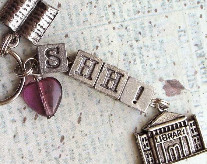 Library Keychain SHH Librarian Gift Purse Charm