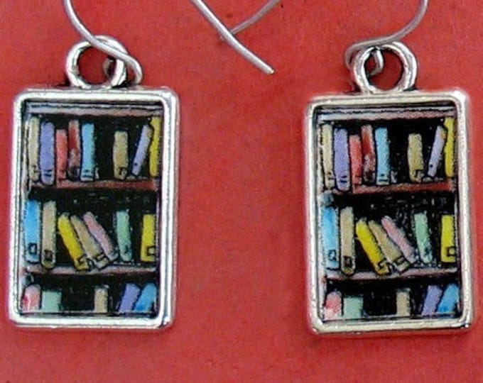 Bookshelf Earrings Book Lover Gift Bookcase Bookish Jewelry