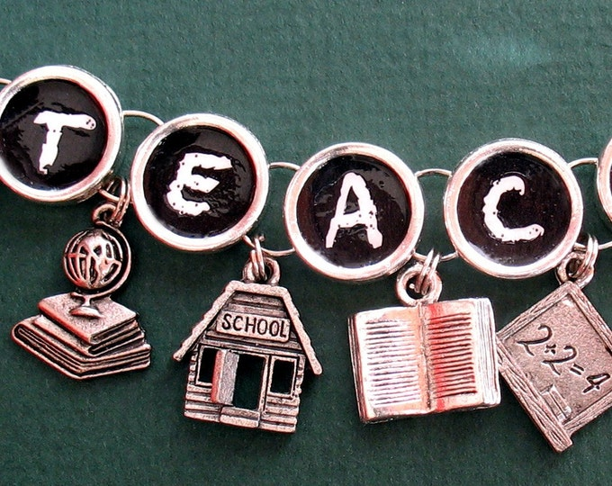 Teacher Bracelet Blackboard Charm School Apple Book