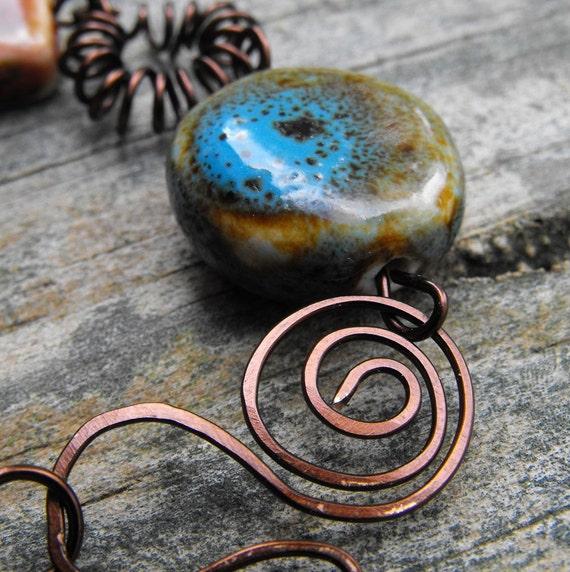 Swirls and Coils Ceramic Bead Bracelet