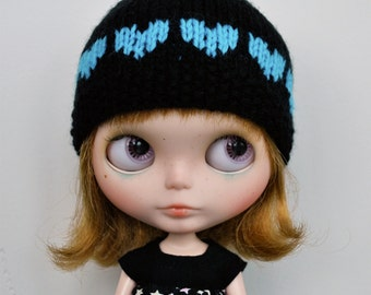 SALE - Blythe Hat - CANDY HEARTS Black and Turquoise
