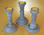 3 pebble blue ceramic candle holders, votive holders