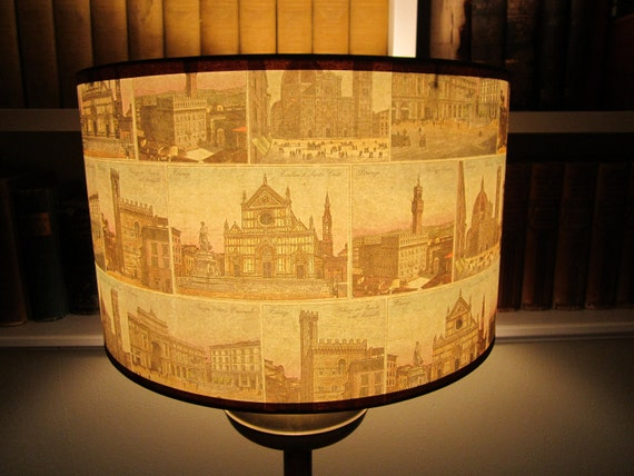 Italy lamp shade, postcards from Florence, Italian paper drum shade