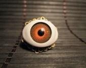 Unique Big Brown Eyed Brass Filigree Adjustable Ring Handmade