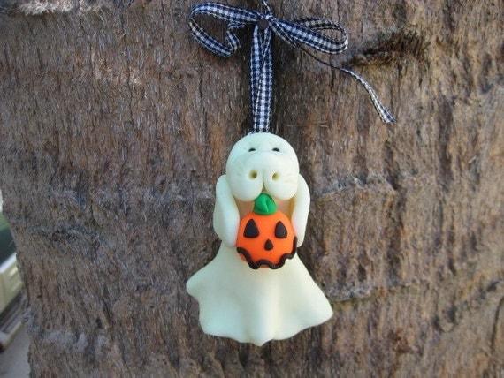 CUSTOM ORDER - Manatee Glow-in the-Dark Ghost with Jack-o-Lantern Halloween Ornament