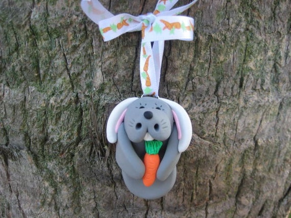 CUSTOM ORDER - Manatee Bunny Easter Ornament