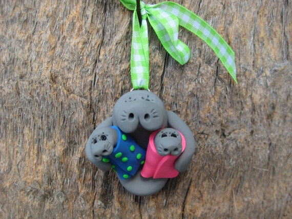 Mommy and Babies Twins Boy and Girl Manatee Ornament