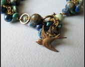Fly - turquoise, Czech glass rounds and brass bracelet