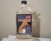 Primitive Handpainted Americana  Bottle