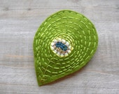 Peacock Feather Clip Felt Hair Accessory Hand Embroidered One of a Kind by OrdinaryMommy