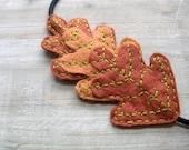 Oak Leaf Trio Felt Headband - Chestnut Cinnamon