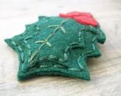 Holiday Holly Felt Hair Accessory. 20% off SALE. Christmas Evergreen Hair Clip. by OrdinaryMommy