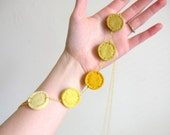 Christmas in July Sale Yellow Ombre Necklace Felt Circle Color Progression by OrdinaryMommy on Etsy