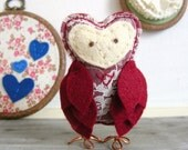 Valentine Owl Figurine Red Felt and Lace Gift for your Sweetheart by OrdinaryMommy