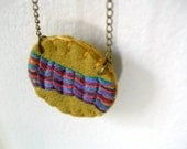 40% off Embroidered Felt Necklace Zig Zag Tribal Chevron One of a Kind Mutli Color Bronze by OrdinaryMommy
