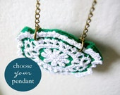 Lace Medallion Necklace Limited Edition You Choose Felt Color Pendant by OrdinaryMommy