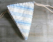 Half Off Sale // Striped Bunting // Beach House Cottage Decor // Blue Limited Edition by OrdinaryMommy on Etsy