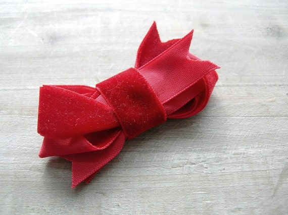 Velvet Bow Ruby Hair Clip Red Twisted Ribbon Clip for Date Night by OrdinaryMommy on Etsy