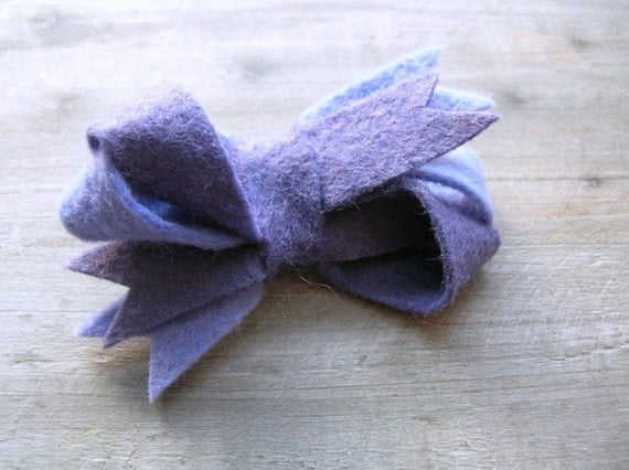 Felt Bow Hair Clip Twisted in Blueberry and Lilac Two Toned by OrdinaryMommy