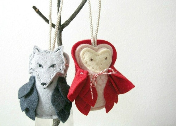Fairytale Felt Owls Little Red Riding Hood and the Wolf Masked Owl Nursery Decor Door Knob Hanger Ornaments by OrdinaryMommy on Etsy
