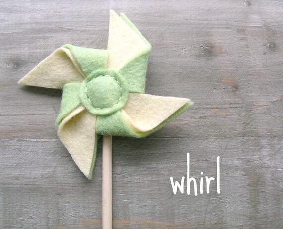 Pastel Felt Pinwheel Hair Clip Pistachio Green and Vanilla for Spring by OrdinaryMommy