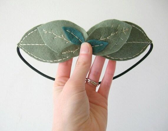 Leaf Laurel Garland Felt Headband // Thyme Sage Headpiece // Handmade by OrdinaryMommy on Etsy