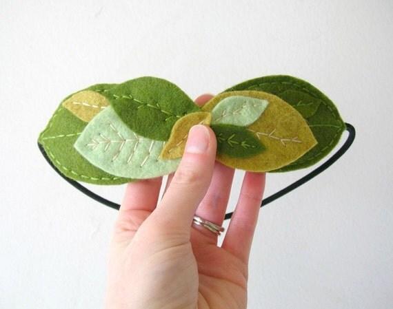 Felt Leaf Garland Laurel Headband Golden and Moss Headpiece by OrdinaryMommy on Etsy