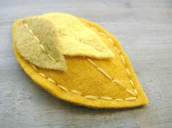 SALE Yellow Leaf Felt Clip // Mustard // Woodland Hair Accessory by OrdinaryMommy on Etsy