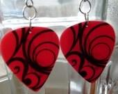Pink Swirl Guitar Pick earrings