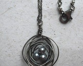 Birds Nest Necklace: Modern Dark Silver Pearl and Oxidized Sterling Necklace