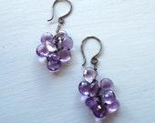 AA Amethyst Grape Cluster Dangle Earrings