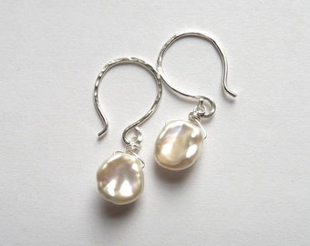 Lola Earrings Gorgeous Glow Ivory Keshi Freshwater Pearl Earrings Sterling Silver Made to Order