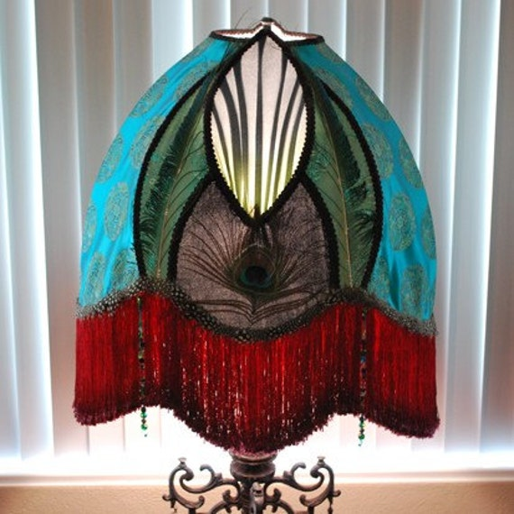 SALE Unbelievable LUXE Lamp Base w/ Peacock Neo Victorian Asian Silk & Velvet Lamp Shade by Filigreelamps