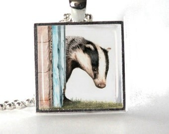 Glass pendant in silver - Badger