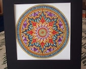 SALE!!!! Ready to Frame Matted Handpainted Mandala Kaleidoscope