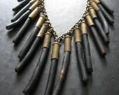Frange Noire - Black Coral Bullet Fringe Necklace - Modern Tribal Gypsy Punk