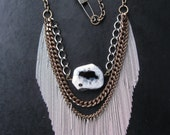On the Fringe - Upcycled Chain Fringe and Giant Agate Slab Statement Necklace